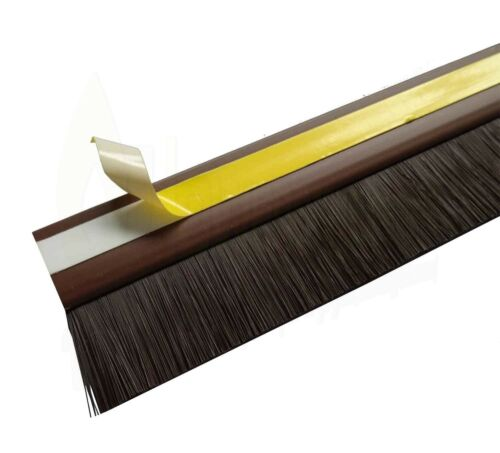 Door Draught Excluder Bottom Brush Bar Self Adhesive Strip 25mm Seal Energy Save