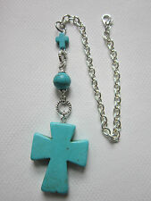 Rearview car Mirror Charm Turquoise Cross pendant  Christian purse charm keyring