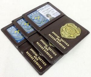 Resident mal estrellas mapache Insignia Dep Billetera Soporte de tarjeta de cuero ID