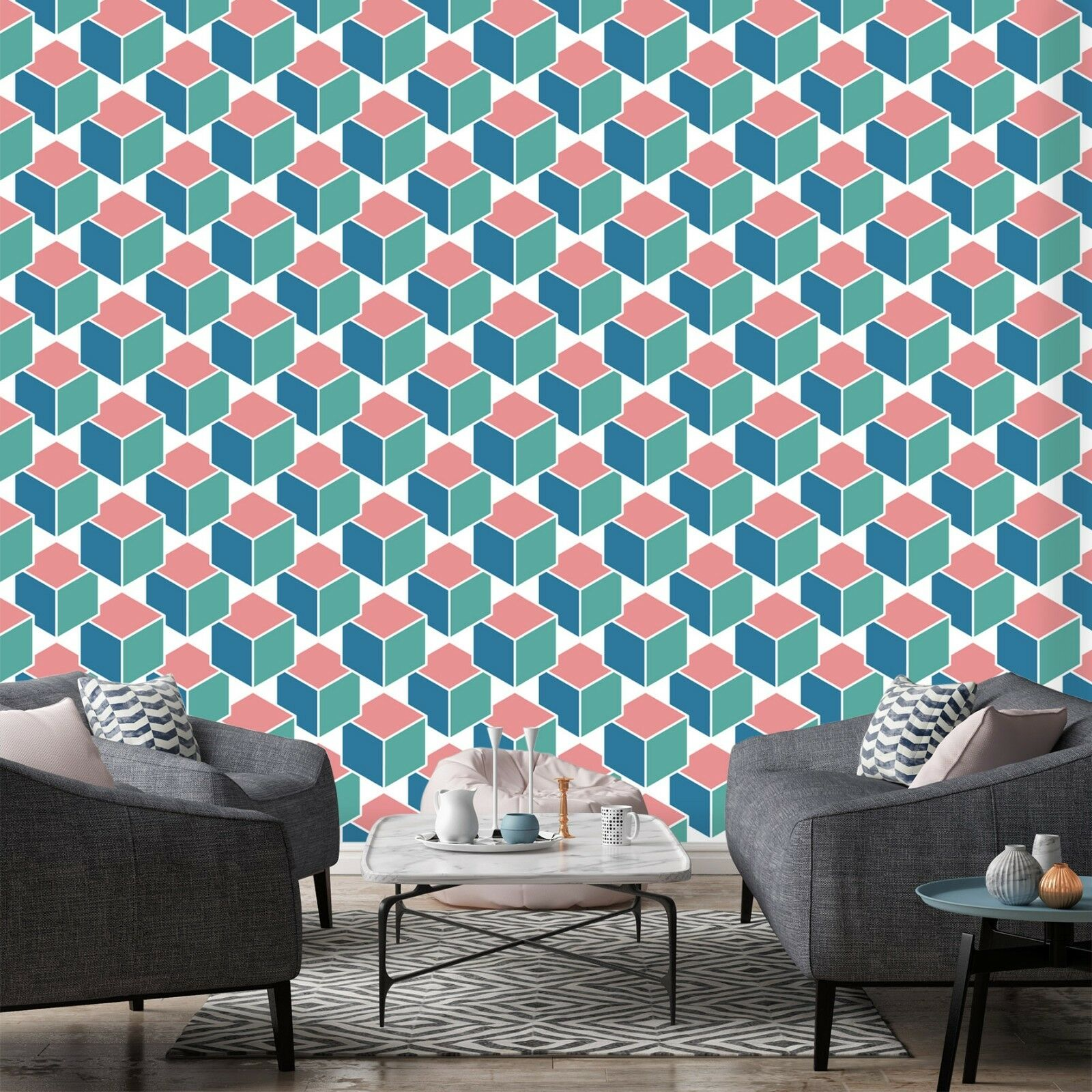 3D Pink bluee 703 Wall Paper Print Wall Decal Deco Indoor Wall Murals US Summer