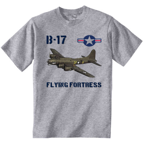 B-17 FLYING FORTRESS USA WWII NEW COTTON GREY TSHIRT