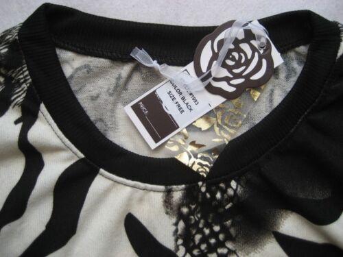 LAYERS Damen-Longshirt Gr Free Animal Print Baumwolle schwarz weiß