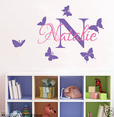 PERSONALISED NAME & BUTTERFLIES 2 COLOUR WAYS Removable Wall Decal great gift