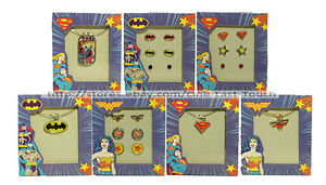 DC-COMICS-Kids-Jewelry-LOGO-Necklace-w-Charms-Earrings-HOLIDAY-YOU-CHOOSE