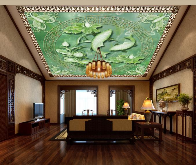 3D Grün Lotus Koi 7 Ceiling WallPaper Murals Wall Print Decal Deco AJ WALLPAPER