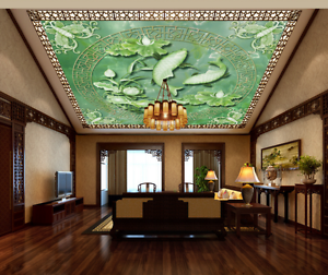 3D Green Lotus Koi 7 Ceiling WallPaper Murals Wall Print Decal Deco AJ WALLPAPER