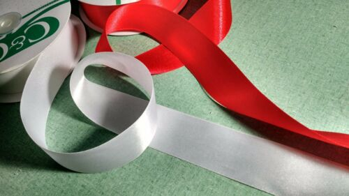 """Ribbon double sided satin White 1.5/""""  Priced for each 3 continuous yard"""