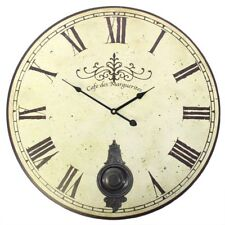 ef23113ea645 58cm Large Vintage Cream Distressed French Style Wall Clock with Moving  Pendulum