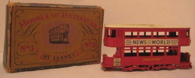 Classic Antique Metal Match Box Toy London Tram Car w Box No 3 Lesney 1956 Nice