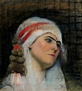 Signed-noguet-Portrait-of-a-Woman-with-Headscarf
