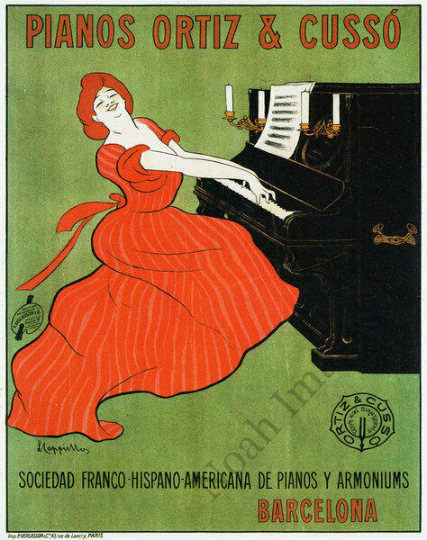 POSTER PIANOS AUTOPIANISTAS LADY PLAYING BEETHOVEN MUSIC VINTAGE REPRO FREE S//H