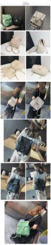 Women Large Chains Handle Quilted Embossing Leather Backpack Soft Vintage Bag