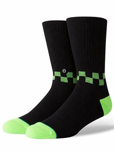 Stance Men/'s L 9-12  Checkness Medium Cushion Crew Socks Black Lime Green