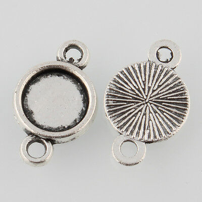 Antique Silver DIY Tibetan Style Alloy Flat Round Cabochon Connector Settings