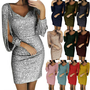 Sexy-Womens-Fashion-V-Neck-Sequins-Glitter-Tassels-Bodycon-Cocktail-Party-Dress