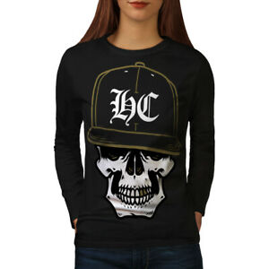 Wellcoda-Skull-Swag-Gamer-Womens-Long-Sleeve-T-shirt-Rapper-Casual-Design