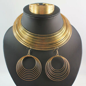 Bib-Statement-Piece-Gold-Tone-Coil-Choker-Collar-Necklace-Earring-Bangle-Set