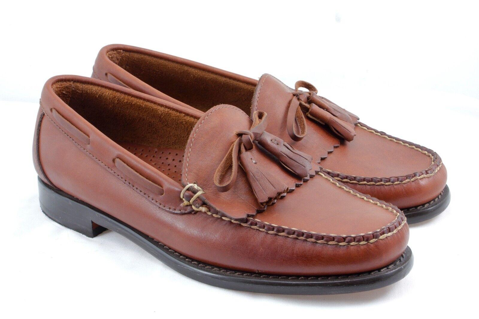L.L. BEAN Handsewn Brown Pelle Kiltie Tassel Moccasin Loafer 7 D