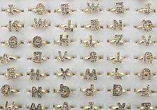 Wholesale lots 95pcs clear rhinestone letter alloy adjustable lady's rings EH103