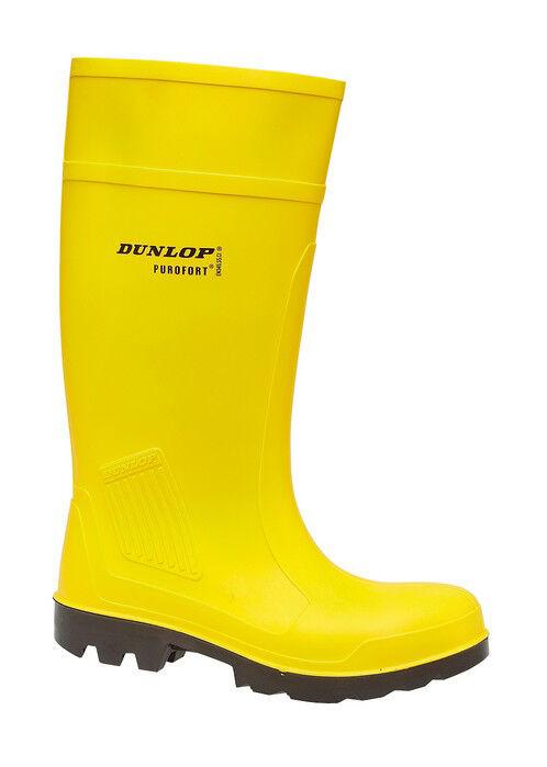 DUNLOP Purofort GIALLO Stivali di acciaio gomma sicurezza punta in acciaio di PAC Wellington boot 76293b