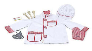 Melissa-and-Doug-Chef-Role-Play-Costume-Set-Dress-Up-NEW-jacket-hat-mitt-spoon