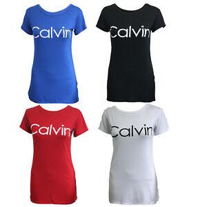 Women-Ladies-Short-Sleeve-Calvin-Slogan-Printed-Tee-Casual-T-Shirt-Top-UK-8-14