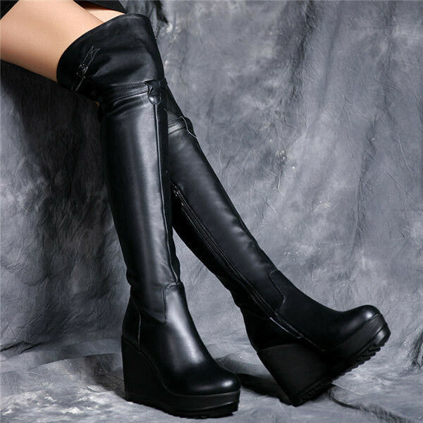Sexy Hohe Keilabsatz Overkneestiefel Damen Stiefel Nachtclub Schuhe Platform Neu