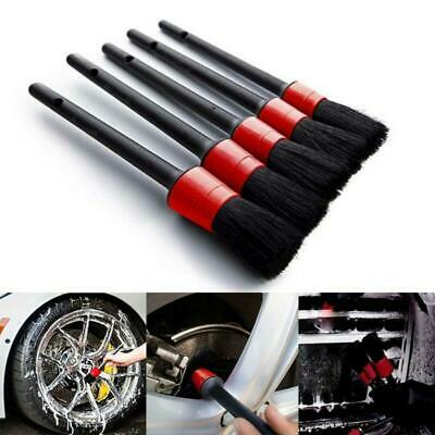 5Pc Auto Detailing Brush Cleaner Set Boar Hair For Car Cleaning Wheels Dashboard