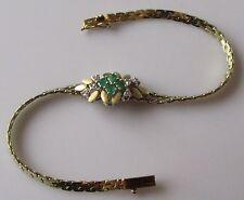 Di seconda mano 14ct Oro Giallo Smeraldo Diamante Grappolo Braccialetto 6 1/4 pollici