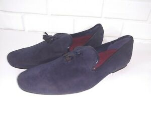 81f23936a21 TOPMAN Blue Faux Suede Shoes Size 44 US11 Tassel Loafers Slip On ...
