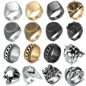 Men-039-s-Stainless-Steel-Fashion-Cool-Gothic-Punk-Biker-Finger-Rings-Male-Jewelry