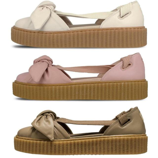 official photos 334d3 b7db3 PUMA Fenty X Rihanna Womens Bow Laced Creeper Pink Tint Natural Ladies  Sandals