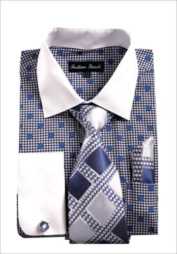 Men/'s French Cuff Dress Shirt with Polka Dot Design 3 Pieces Set FL632