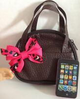 Purse & Phone For American Girl Doll Pink Cheetah 18 Accessories Set