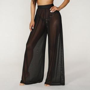 Women See Through Boho Wide Leg High Waist  Beach Long Loose Mesh Sheer Pants