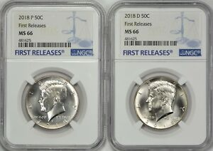Details about 2018 P & D 2-Coin Set of Kennedy Half Dollars Each NGC MS66 -  First Releases