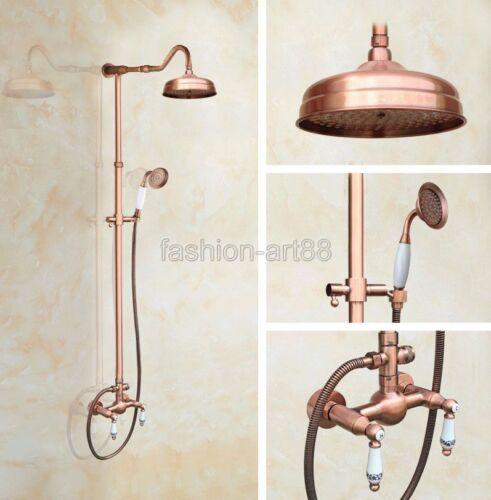 Vintage Retro Red Copper Brass Bathroom Rain Shower Faucet Set Mixer Tap frg623