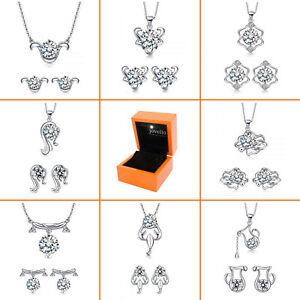 Sternzeichen-Schmuckset-Halskette-Ohrstecker-aus-echt-925-Silber-Geschenk-Damen
