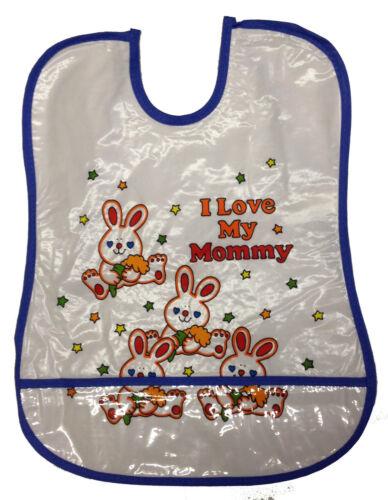 1-8 Assorted Large Tie Back Bibs I love Mummy Daddy Feeding Bib PVC Plastic Lot