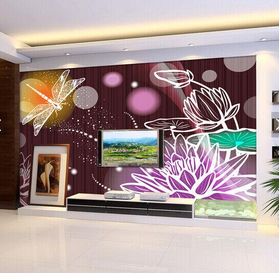 3D Lotus Dragonflys 7 Wall Paper Murals Wall Print Wall Wallpaper Mural AU Lemon