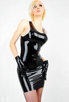 Robe Courte Latex Noir Avec Fermeture Eclair Au Dos Short Dress With Zipper
