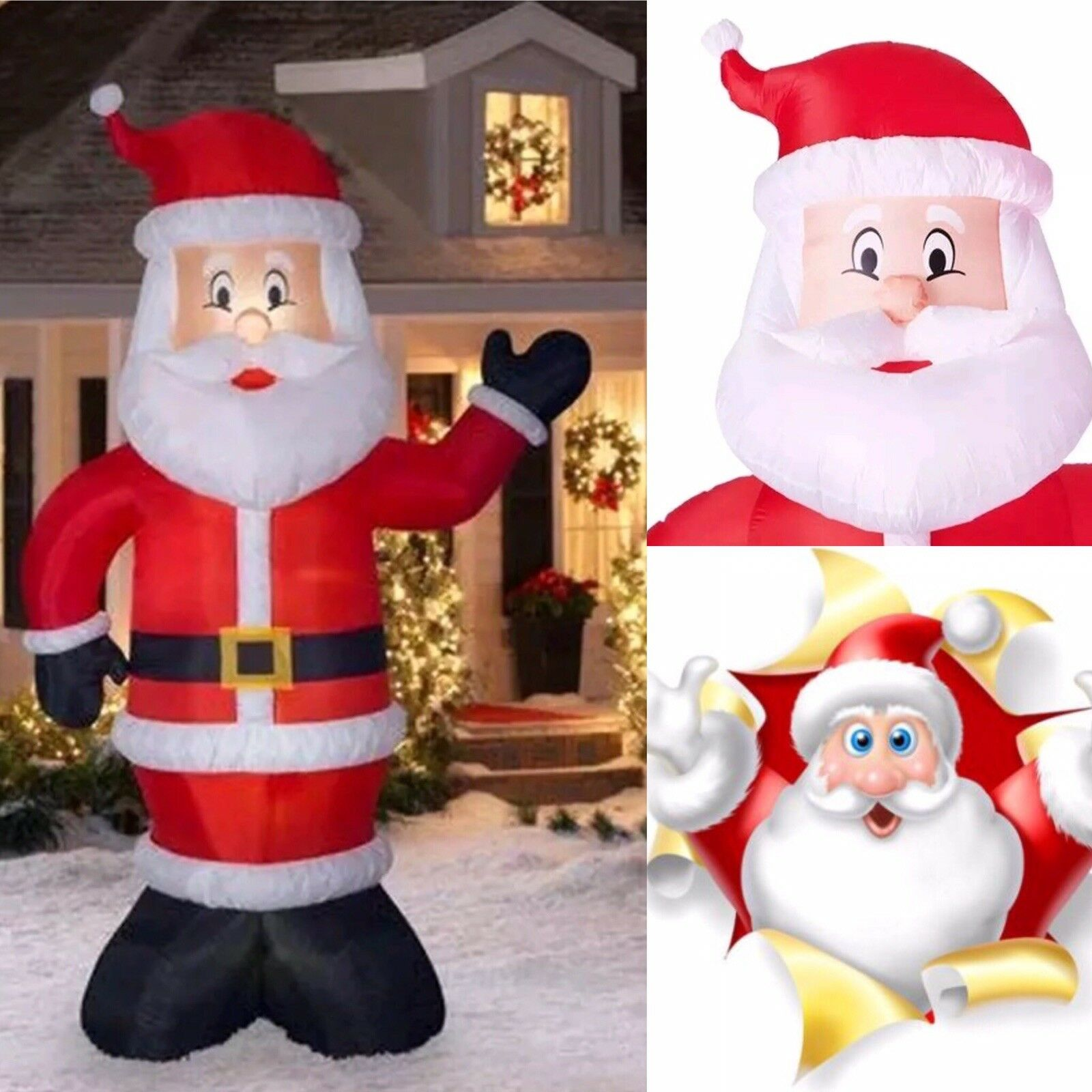 Holiday Time 10 FT Giant Santa Claus Inflatable with with with Lights HUGE 888b67