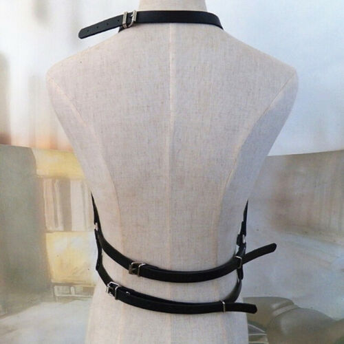 Women/'s Leather Body Chest Harness Cage Bra Belt Gothic Collar Choker CostumeZNF