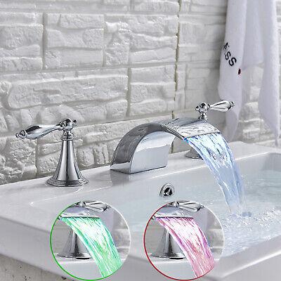 Bath Widespread Bathroom Sink Faucet Led 3 Holes Basin Mixer Tap Chrome Finish Home Garden Mbln Org