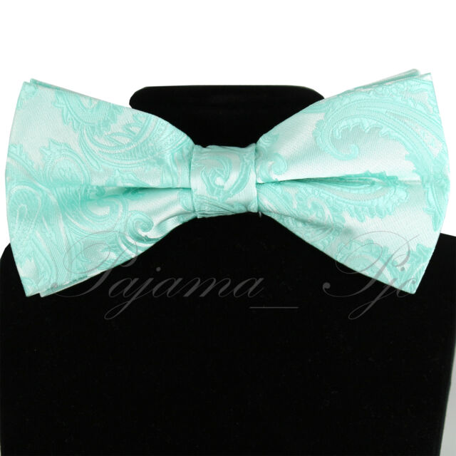 New Brand Q men/'s pre-tied bow tie /& hankie paisley microfiber formal aqua green