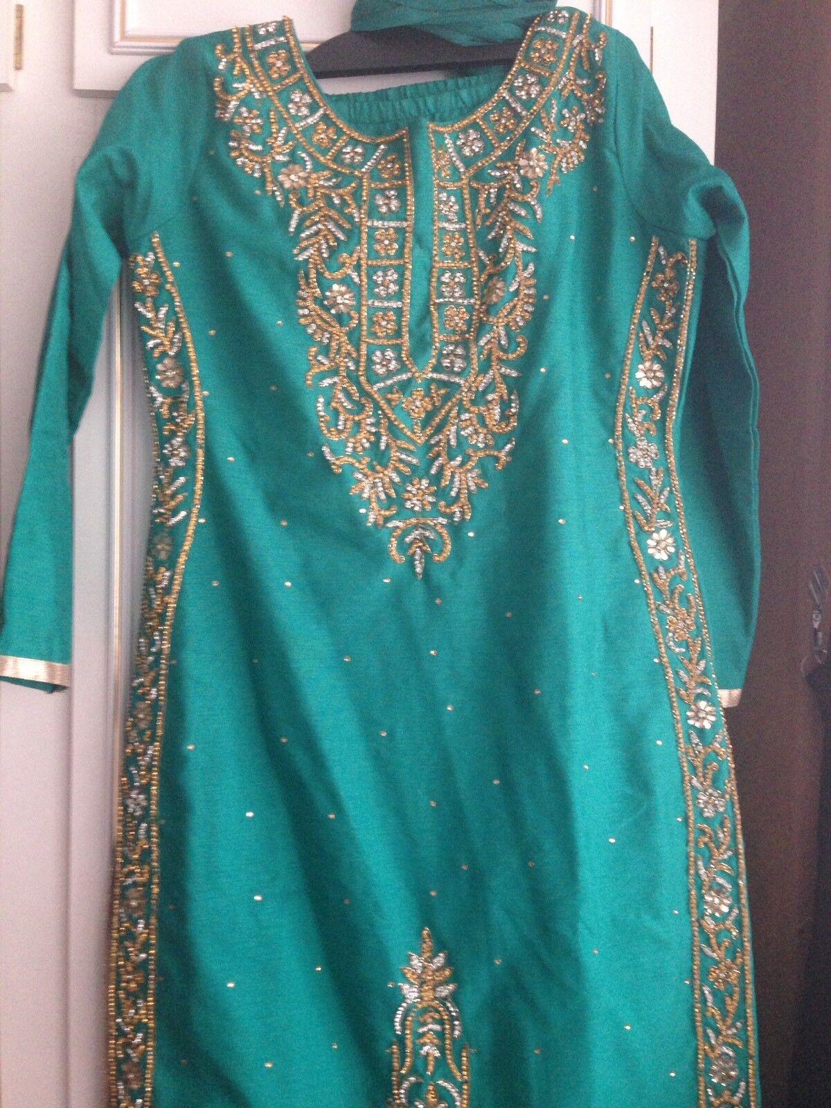 Asiático para para para mujer Cerceta Talla 8 10 atuendo con gemas para Eid Diwali bodas fiestas c33f0e