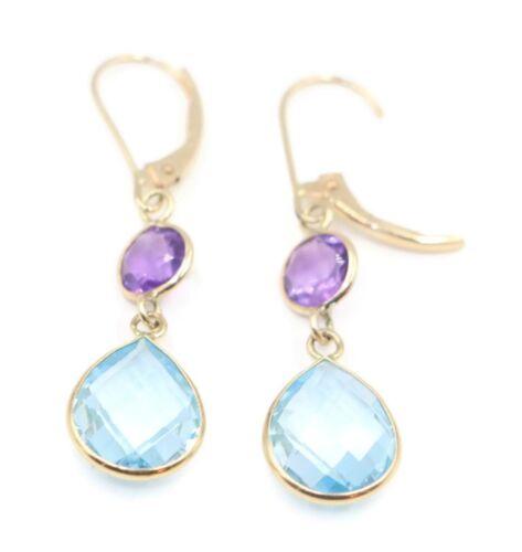Amethyst /& Blue Topaz Double Dangle Earrings,14K Yellow Gold