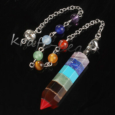 1x 7 Gemstone Hexagon Pendulum diviner reiki Healing Chakra Pendant With A Chain