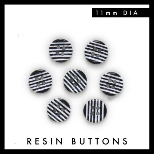 Set of 6 Black /& White Stripe 11mm Resin Buttons 4 holes