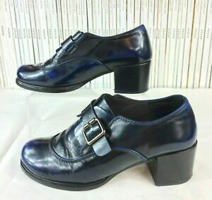 CHIE-MIHARA-36-3-Shoes-Booties-Blue-Leather-Patina-Buckle-Square-Toe-Block-Heel